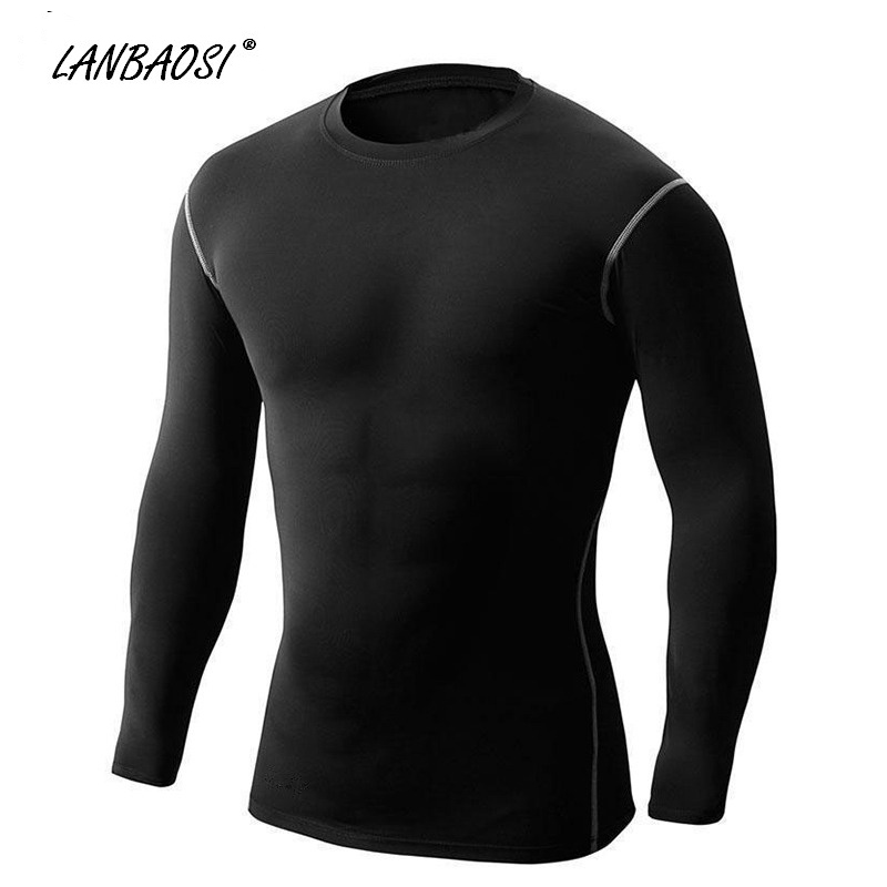 Bărbați Excercising Top Breathable cu maneci lungi Compresie Tight Shirt