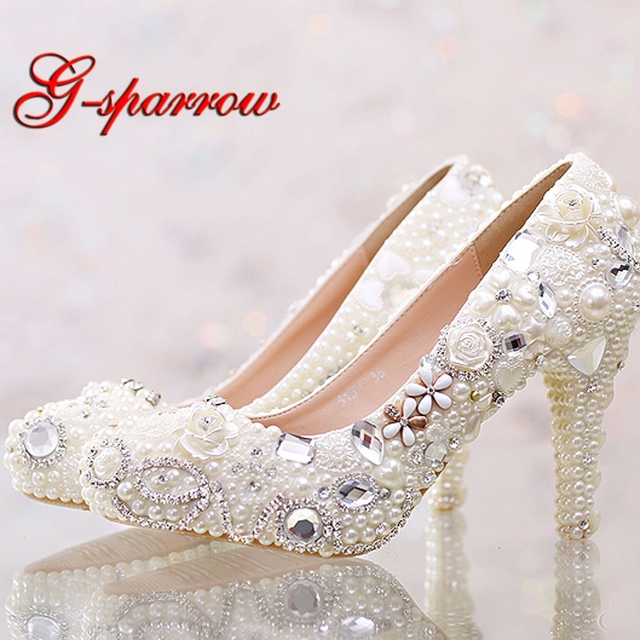 34536ce5a18c Pretty Ivory Pearl Wedding Shoes True Love Rhinestone Platform Bridal Dress  Shoes Adult Ceremony Party Pumps Handmade High Heels