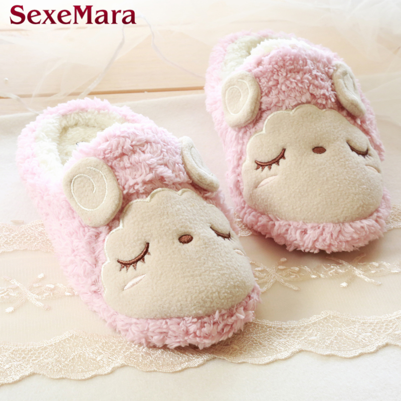 Pantunflas Winter Couples Home Animal Slippers Women Indoor Floor Sherpa Soft Bottom Squinting Sheep Slip Furry