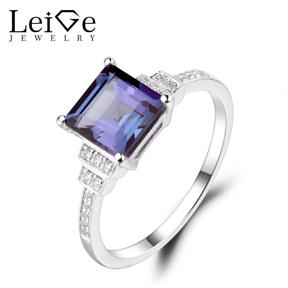 цены Leige Jewelry Square Cut Alexandrite Engagement Rings for Women Sterling Silver 925 Fine Jewelry Gemstone Rings June Birthstone