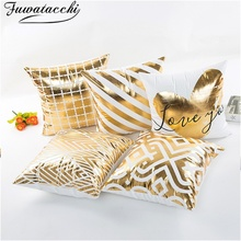 Fuwatacchi Geometric Bronzing Cushion Cover Heart Throw Pillow Stamping Gold Pillowcases Decorations for Home Chair Sofa