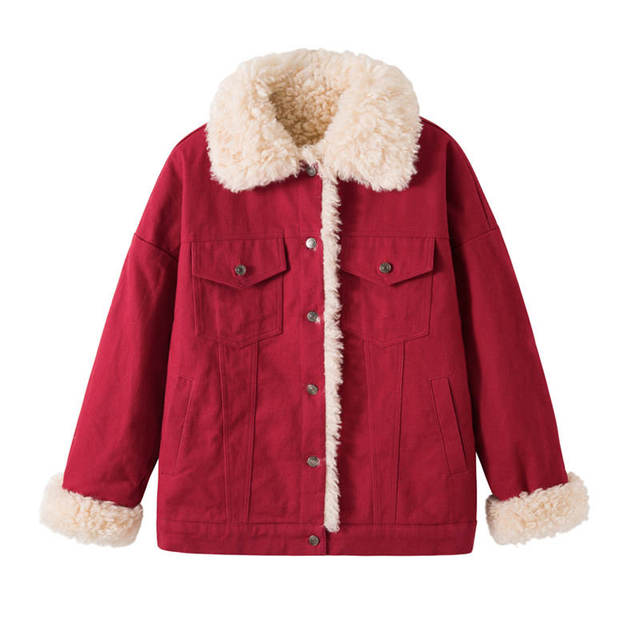 Fashion Lambs Wool Jacket Women Fur Collar Women Jackets Red Beige White Cotton Padded Winter Jacket Women Soft Warm Parka C5028 5