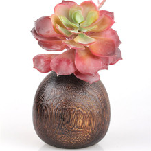 1pcs Rare Garlic shape Retro Decor Wooden Hole Flower Vase Desktop Small Tea Table Potted Plants