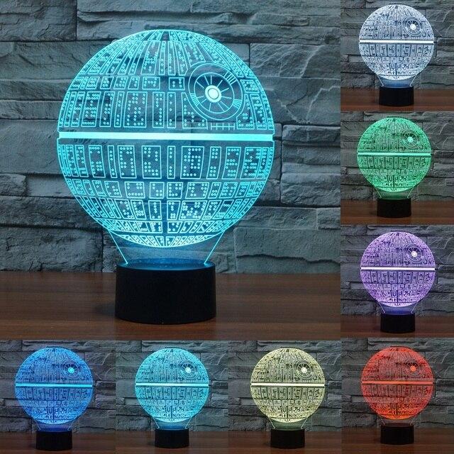 스타 워즈 죽음의 별 3D LED 나이트 라이트 터치 스위치 테이블 램프 USB 7 컬러 룸 장식 다채로운 LED 조명 선물 IY803327