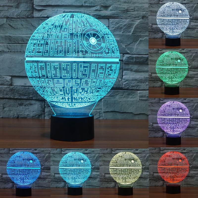 Star Wars Death star 3D LED Night Light Touch Switch Table Lamp USB 7 Color Room Decor Colorful LED Lighting for Gift IY803327 high quality 3d led night light usb switch table lamp lanterna for home decoration