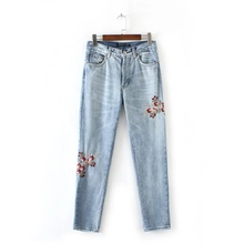 Джинсы женские slim fit цветок вышивка джинсы