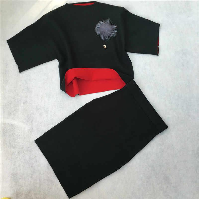 e00e4a8238e8 ... LUO SHA женские спортивные костюмы мягкий женский костюм женский  кашемировый свитер плюшевый Шар Топ и юбка