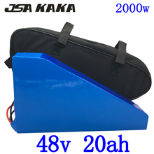 US EU AU No Tax 48V 20AH 2000W Electric Bike battery 48V 20AH ebike Triangle Battery with free Bag 50A BMS and 54.6V 5A Charger us eu no tax 48v 13ah 750w lithium ion bottle ebike battery pack with charger fit bafang bbs02 750w with 20a bms and 2a charger