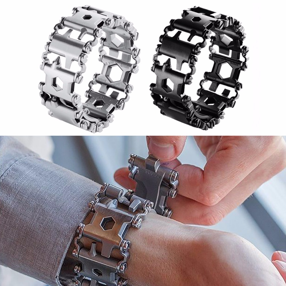 Creative 29in1 Stainless Steel Multifunction Bracelet Wristband Screwdriver Bottle Opener Outdoor Survival Emergency Tools 24