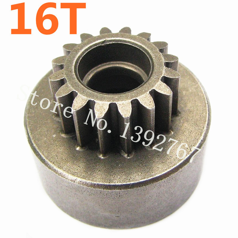 One Piece Clutch Bell Gear(16T) 11196 62015 For RC Car Spare Parts 1/8 Scale Models HSP Himoto Tyranno Remote Control Cars free shipping 78pcs gear set tyre tires special umbrella teeth gears rack car shaft spare parts for diy rc car aircraft models