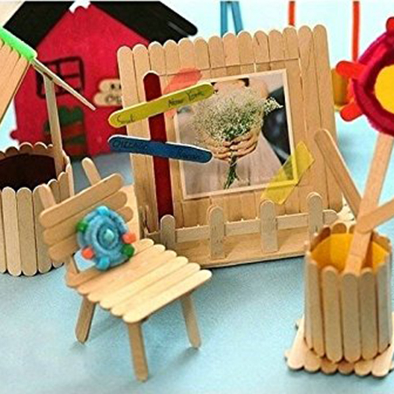 50pcs/pack Wooden Crafts Art Toys Children DIY Handmade House  Ice Cream Stick Colorful Wooden Gift For Children