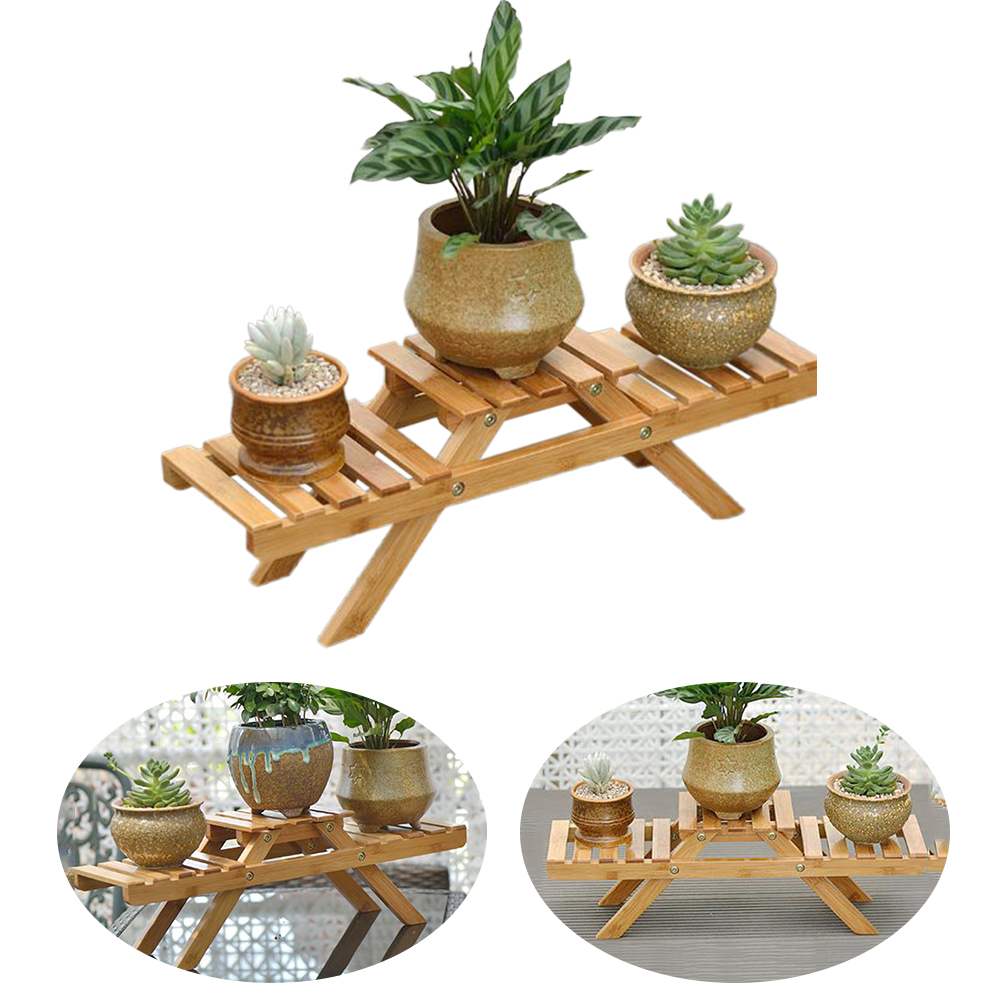 Planter Multilayer Table Home Decor Flower Shelf Garden Plant Pot Rack Display Stand Holder Outdoor Indoor Living Room Bamboo