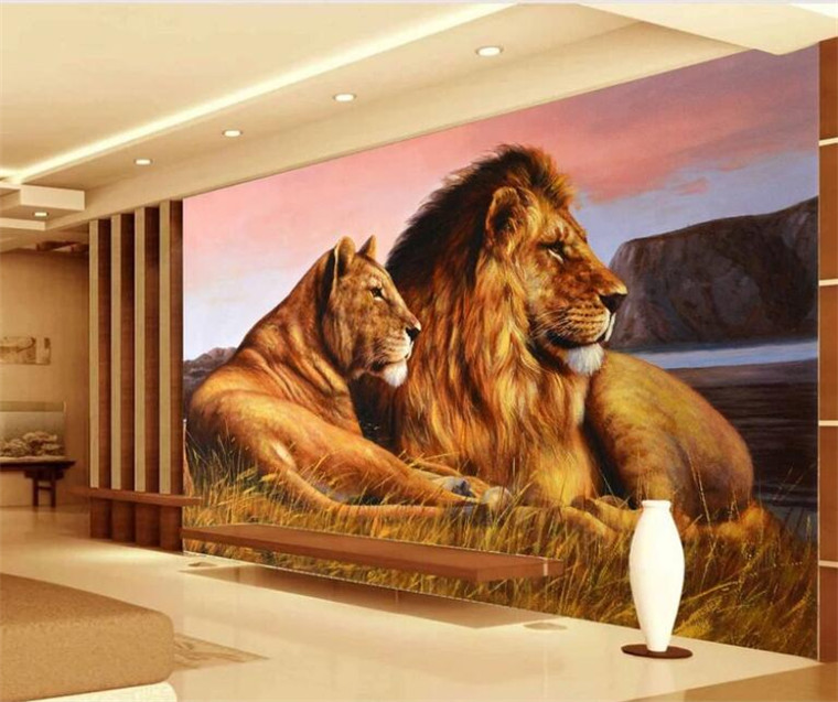 Custom Photo Wallpaper 3D Lions Animal Mural Living Room Bedroom Background Wall Painting Modern Home Decor Wall Paper For Walls