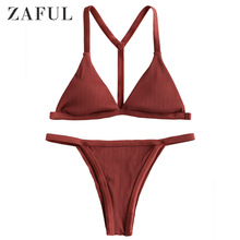 ZAFUL Y-Back Ribbed String Bikini Set Thong Biquini Sexy Straps Elastic 2019 Beachwear Bathing Suit Swimsuit Sportswear
