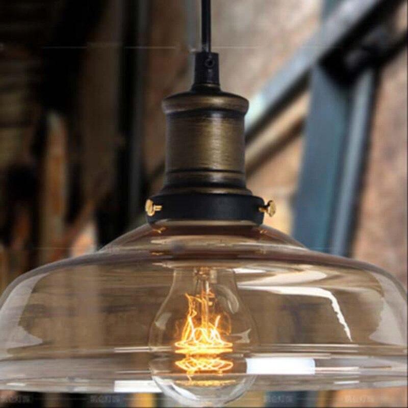 Фото American Industrial Vintage Pendant Light The cafe Creative Glass Droplight Bar Lighting Clothing Store Lamps Diameter 25cmKF108
