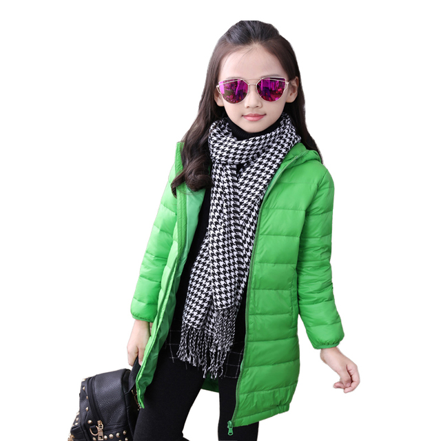 New Arrival girls down parkas winter jacket kids coat Hooded Long Sleeves Warm Solid Outerwear Coats Jacket Child Clothes