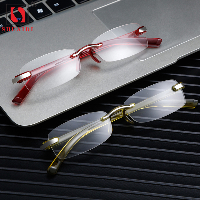 9a17690ff0 2018 Rimless Women Men Reading Glasses with Diopter Magnifier Eyeglasses  for Sight Yellow Red Blue Frame +1.0+1.5+2.0+2.5+3.0