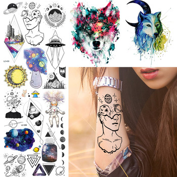 Waterproof Black Planet Women Wrist Thinker Tattoos Stickers Diamond UFO City Temporary Tattoo Body Arm Art Custom Tato Supplies image