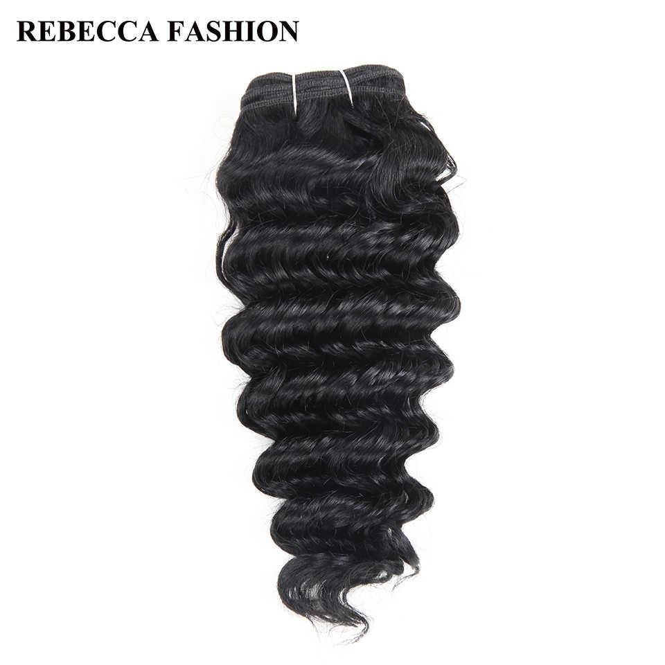 Rebecca Remy человеческие волосы глубокая волна бразильские волосы переплетения пучки 100 г натуральный черный коричневый для наращивания салона 1 # 1b #2 #4 #