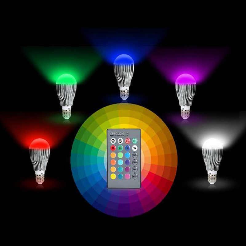 Bombilla LED RGB de 5W 18 W, lámpara de escenario, luces Led de Control remoto para el hogar, E27, E14, B22, GU10, MR16, GU10, función de memoria de color Chang