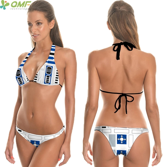 5a56b85ccccc7 Cosplay R2D2 Bikini Thongs Bottom Brazilian Swimwear Star Wars Swimsuits  Sexy Women Halter Triangle Bikini Swim Briefs Suit Blue