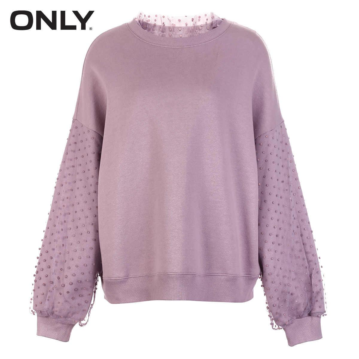 רק נשים של Loose Fit עגול מחשוף טהור צבע סוודר הסווטשרט   11839S571