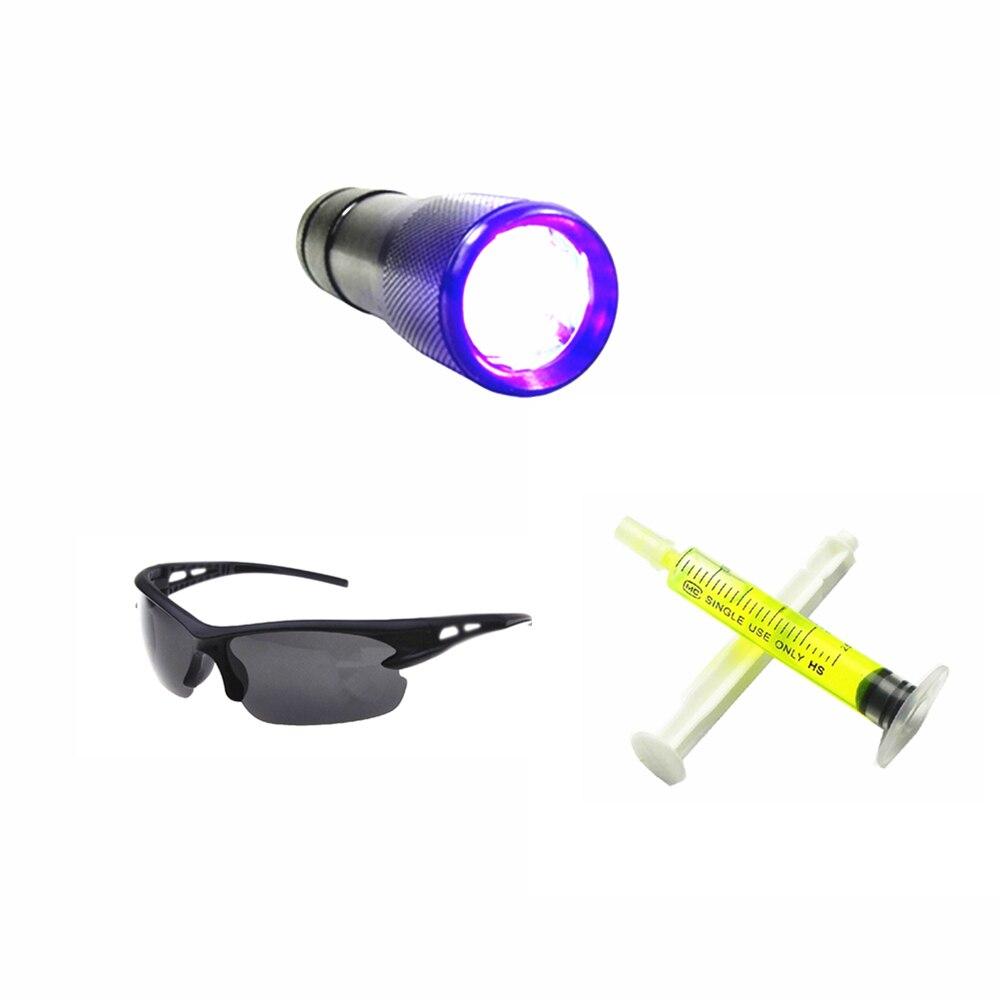 HARBLL 1 pcs UV lampe de poche, 1 pcs R134a R12 Voiture Fluorescent huile, 1 pcs Fuite lunettes Automobile Air Conditionné Réparation Outil