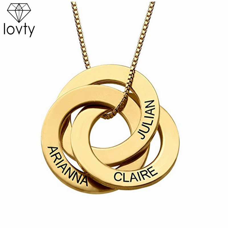 lovty Wholesales Engraved Name Russian Circle Necklace Custom 3 Intertwined Circles Pendant Necklace Anniversary Gift for Her ку in Pendant Necklaces from Jewelry Accessories