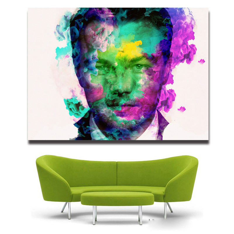 Mondern wholesale oil <font><b>painting</b></font> <font><b>Leonardo</b></font> <font><b>DiCaprio</b></font> portrait watercolor face printed oilpainting free shipping image