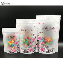 10Pcs High Grade Transparent Storage Bag Matte Colorful Pattern Self-supporting Plastic Food Packaging Ziplock Bag Gift Bags