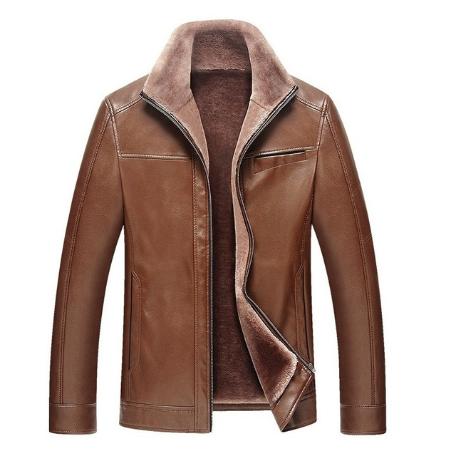 Winter Mens Leather Jackets Thick Casual Flocking Leather Jacket Men's Clothing PU Leather Jacket and Coat jaqueta de couro