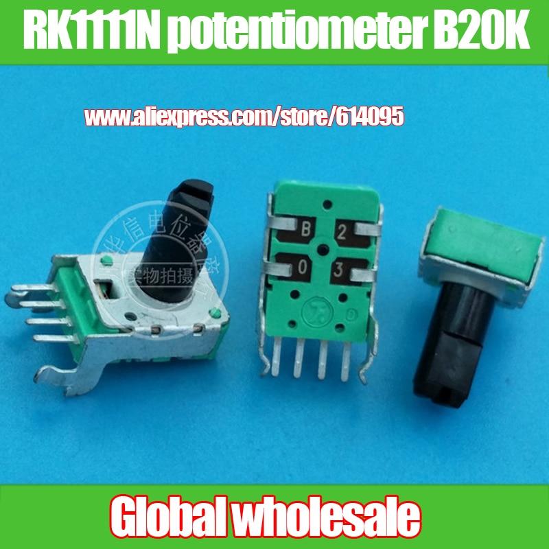 4 pcs 142-tipo horizontal único potenciômetro RK1111N B20K/handle comprimento 13MMF/4 pés