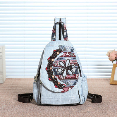 Fashion Bohemian String Appliques Women Shopping Backpacks!Nice Floral Embossing Lady Hasp Backracks Versatile Canvas Backruck