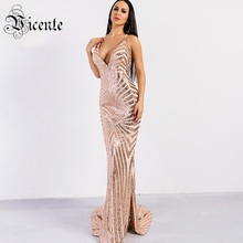 Vc 핫 세련된 장식 조각 맥시 롱 드레스 2020 새로운 섹시한 v 목 뒤로 크로스 디자인 도매 연예인 파티 슬립 드레스