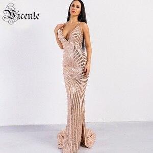 Image 1 - Vc quente elegante lantejoulas maxi vestido longo 2020 novo sexy com decote em v de volta cruz design atacado celebridade festa deslizamento vestido