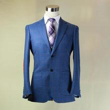 royal blue big wales plaid man's jacket, coffee/blue/black,sude elbow patch,custom tailor made man's MTM coat free shipping