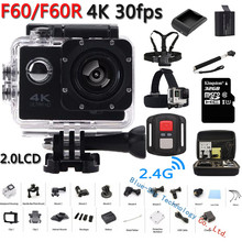 Original F60/F60R Acción Cámara Ultra HD 4 K 30FPS WiFi 1080 P/60fps 2.0 LCD 170D Lente Casco Cámara go pro Videocámara A Prueba de agua