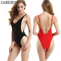 JABERNI one piece swimsuit women sexy backless bodysuit beach wear swimwear monokini solid red black bathing suit size XL XXL