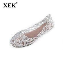 Новые 2017 летние женщины сандалии дышащей обуви кристалл желе гнездо кристалл сандалии женщин плоские сандалии женщина