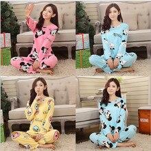 2015 новый сладкий хлопок женщин пижамы Животных печать маленькая кошка Домашняя Одежда Домой Костюм Пижамы Зима Пижамы Женщина Пижамы
