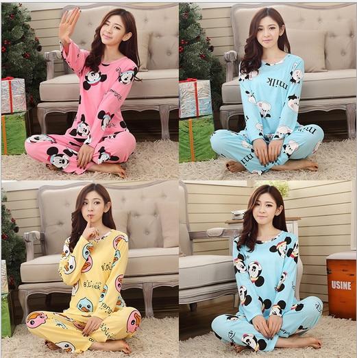 2018 New Sweet Cotton Womens Pajamas Animal Printing Little Cat Indoor Clothing Home Suit Sleepwear Winter Pajamas Woman Pyjamas