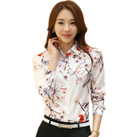 Korean Fashion Women Spring Autumn Long Sleeve Floral Print White Shirt Turn Down Collar Lady OL