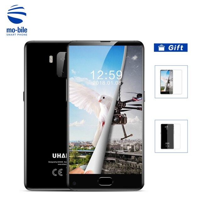 "Uhans MX смартфон отпечатков пальцев 5.2 ""Android 7.0 ободок-менее HD MTK6580 4 ядра 3000 мАч 2 ГБ Оперативная память 16 ГБ Встроенная память IPS Dual SIM телефона"