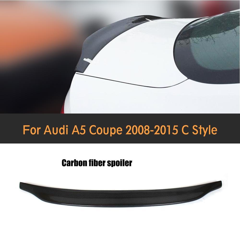 Carbon Fiber Racing Rear Spoiler Car Wing Lio For Audi A5 Coupe Standard Bumper 2008-2015 C Style стоимость