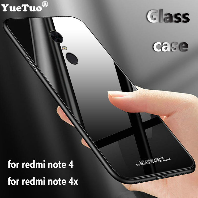 YUETUO <font><b>tpu</b></font> Tempered glass phone back capinha,etui,coque,cover,<font><b>case</b></font> for xiaomi <font><b>redmi</b></font> <font><b>note</b></font> 4 <font><b>4x</b></font> x for ksiomi <font><b>xiomi</b></font> note4x note4 x image