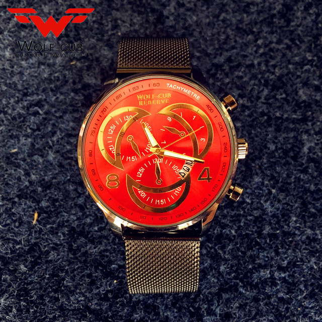 74be8d413ca3 -Lobo cachorro relojes para hombre grandes Dial negro Casual rojo correa de  malla ver fecha