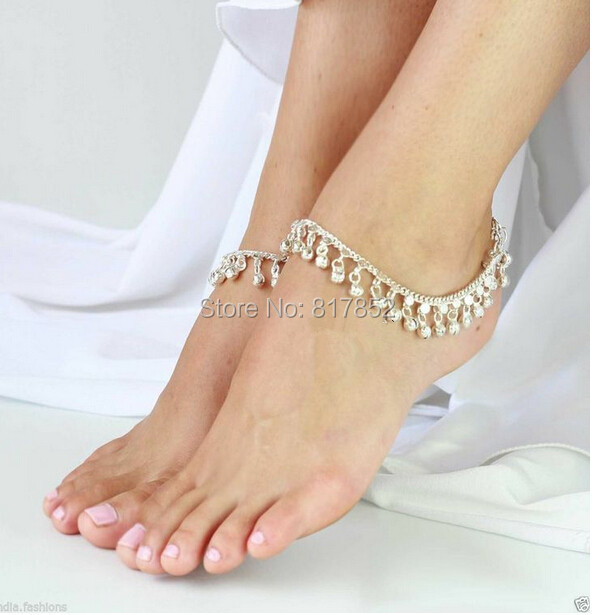 FREE SHIPPING New Style L52 Women Fashion Silver Chain Anklet Chunky Chain Silver Bells Ankle Chain Jewelry 2 colors