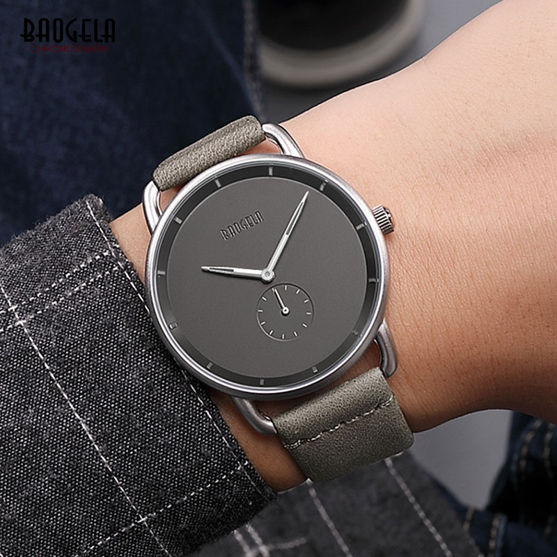 Baogela Men's Casual Grey Leather Strap Simple Quartz Wrist Watches Waterproof Minimalism Clock Relogios Masculinos 1806G-Gray