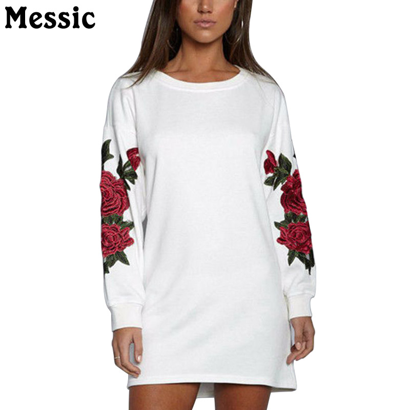 Messic Casual Loose Rose Floral Embroidery Mini Dress Women 2018 Autumn Long Sleeve Knitted Robe Femme O Neck Ladies Dresses embroidered casual loose knitted dress flower long sleeved dress o neck line plain dresses fall casual dresses