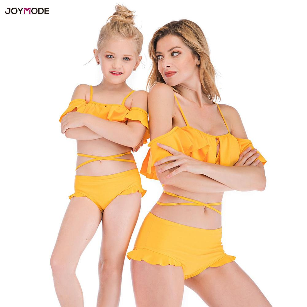 JOYMODE Strappy Frill Mom And Daughter Bikini Set Off Shoulder Swimsuit Bathing Suit Summer Beachwear Family Matching Clothes